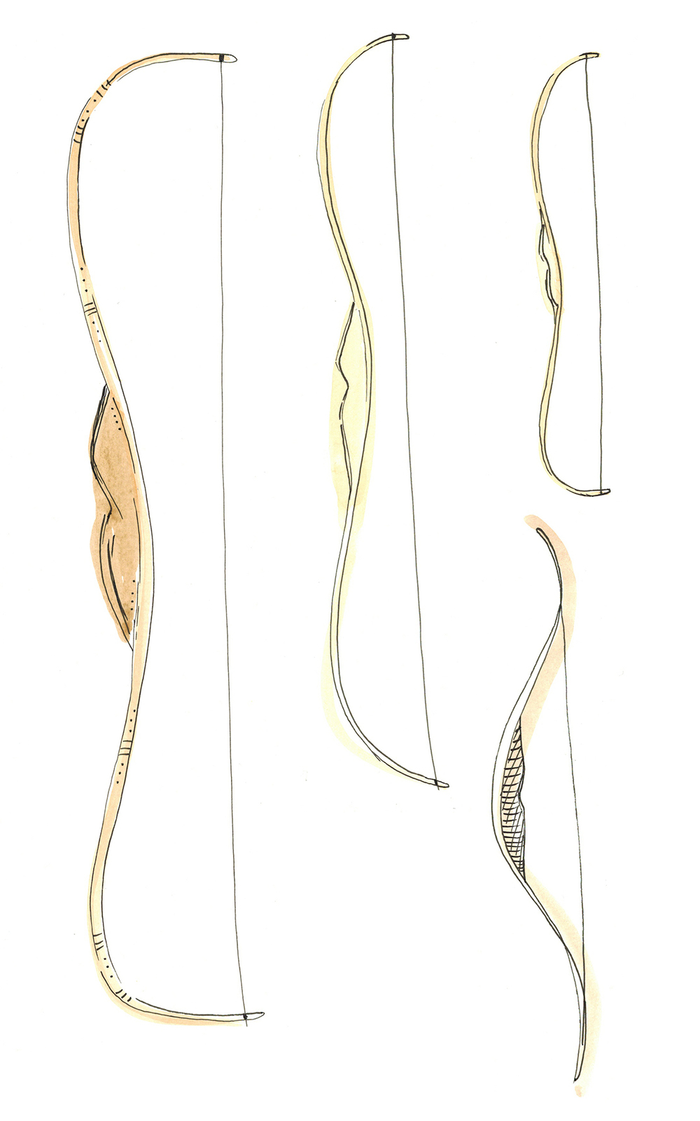 October 11:   Some bows to accompany the archery items I've been doodling.