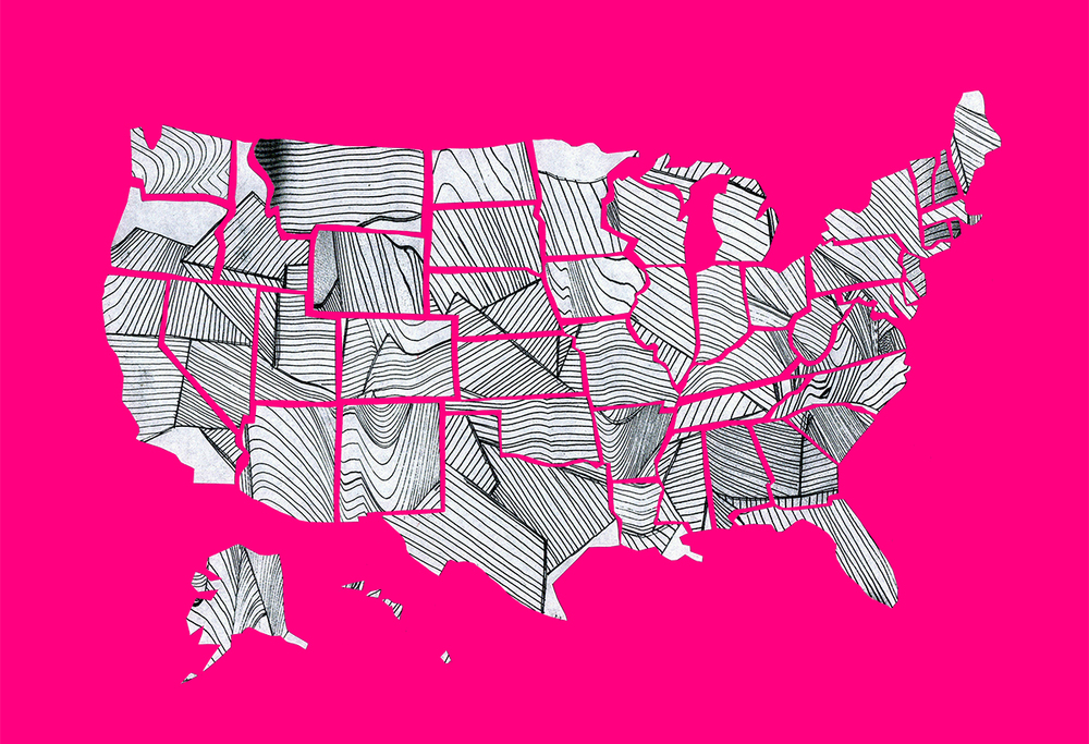 November 19:   Glued the states down, scanned, and removed the background. I tried a few different colors, but kept coming back to this hot pink.