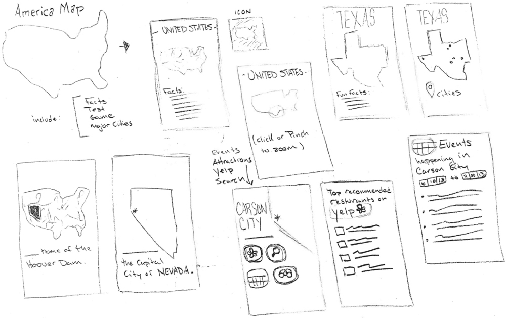 November 20: Spent some time today thinking about what I wanted to do with this map and began to envision it as an app. As I made a very rough wireframe, I began to think about informational features and plug-ins that might be useful.