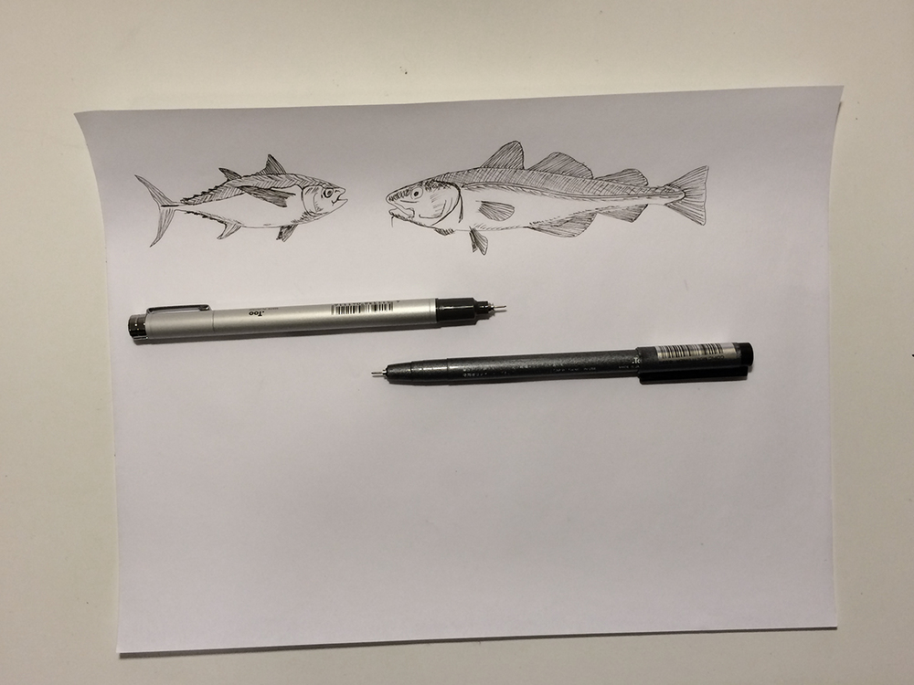 December 9:   I spent some time this morning thinking about my blue experiment and thought that some fish would accompany it well. I planned to fill up this whole page, but these fish were pretty time consuming.