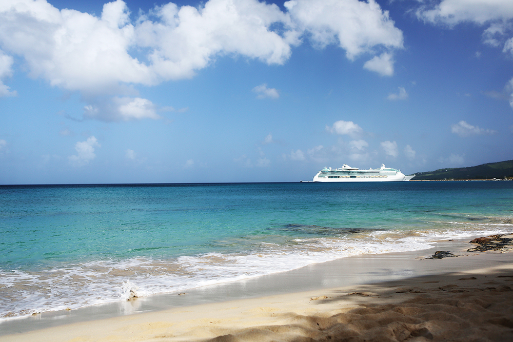 View of our boat from a private beach at St. Croix - 11.11.13