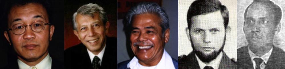 Van links naar rechts 1. Sifu Rob Faulhaber | 2. Sifu Richard Kudding | 3. Sifu Jimmy Bax | 4. Sifu Ted Verschuur (overleden) | 5. Sifu E. Lammerts van Bueren.