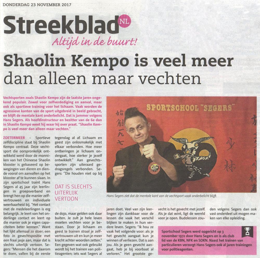 2017-11-23 Streekblad Shaolin Kempo is veel meer dan alleen maar vechten.jpg