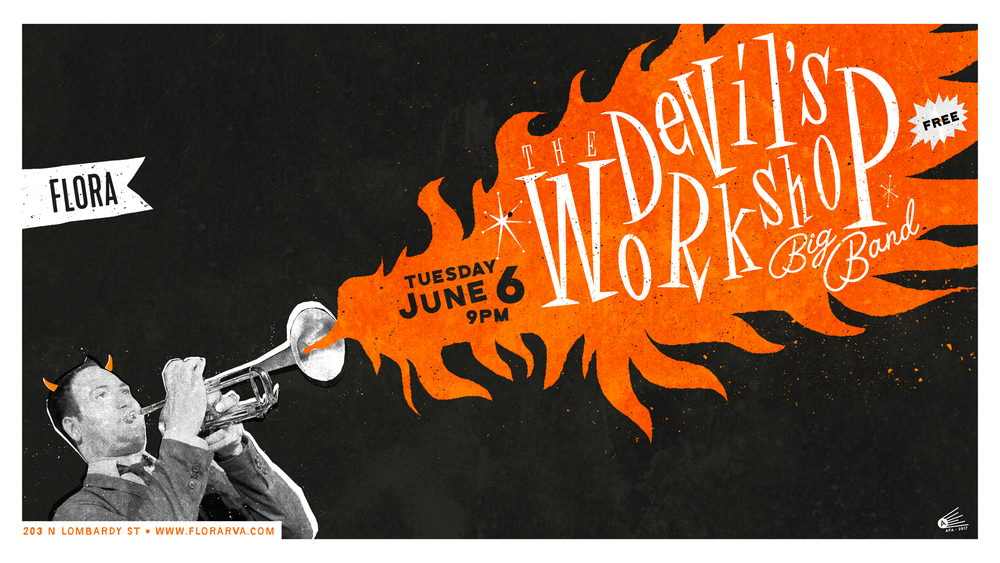 "Flora gig poster – Devil's Workshop Big Band, 16"" x 9"" digital print."