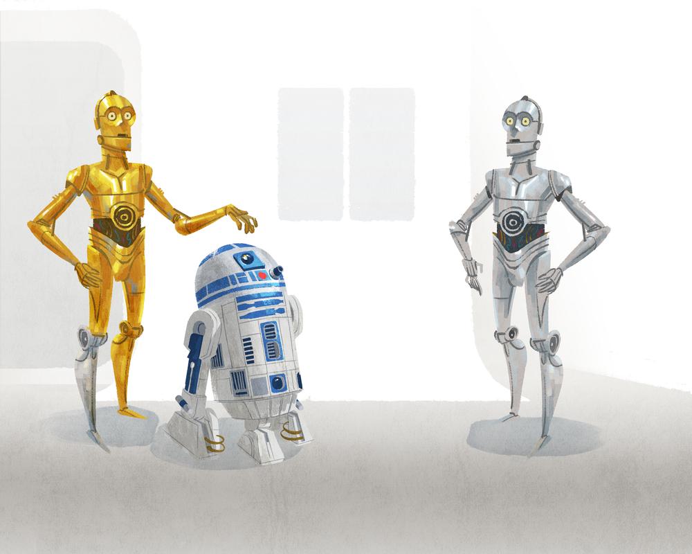 C-3PO, R2-D2, & U-3PO