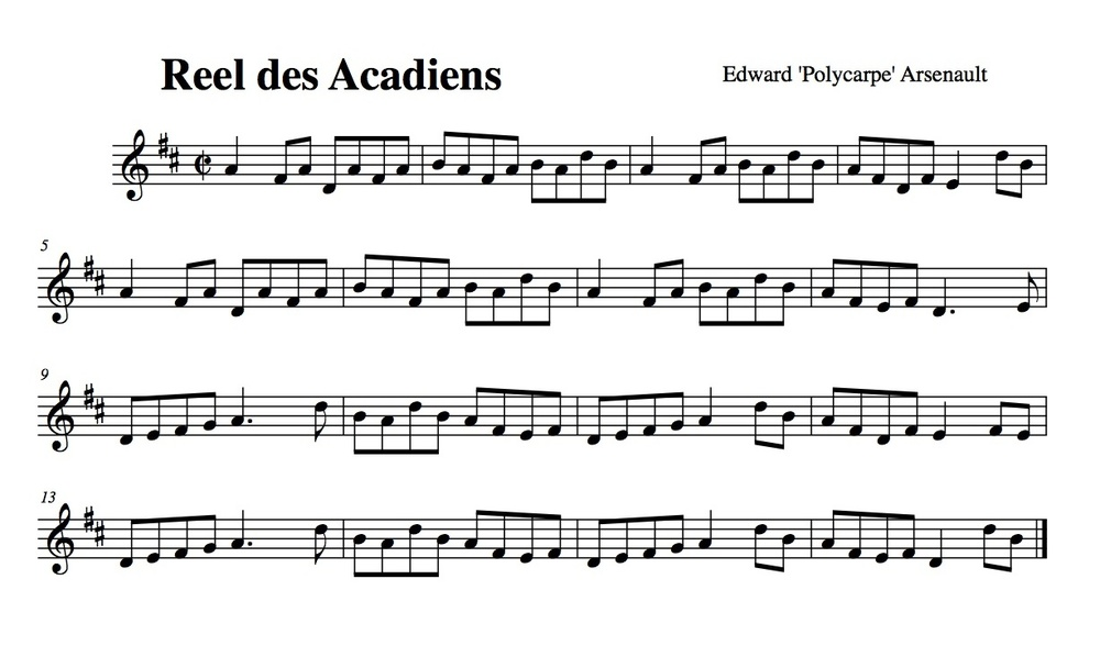 This piece was written by Edward à Polycarpe Arsenault but played by Eddy Arsenault on the Party Acadien tape.