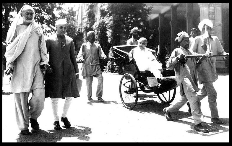 Simla, India, 1946 The iron rickshaw much heavier than the wooden Tana required 4 men to pull and guide it.