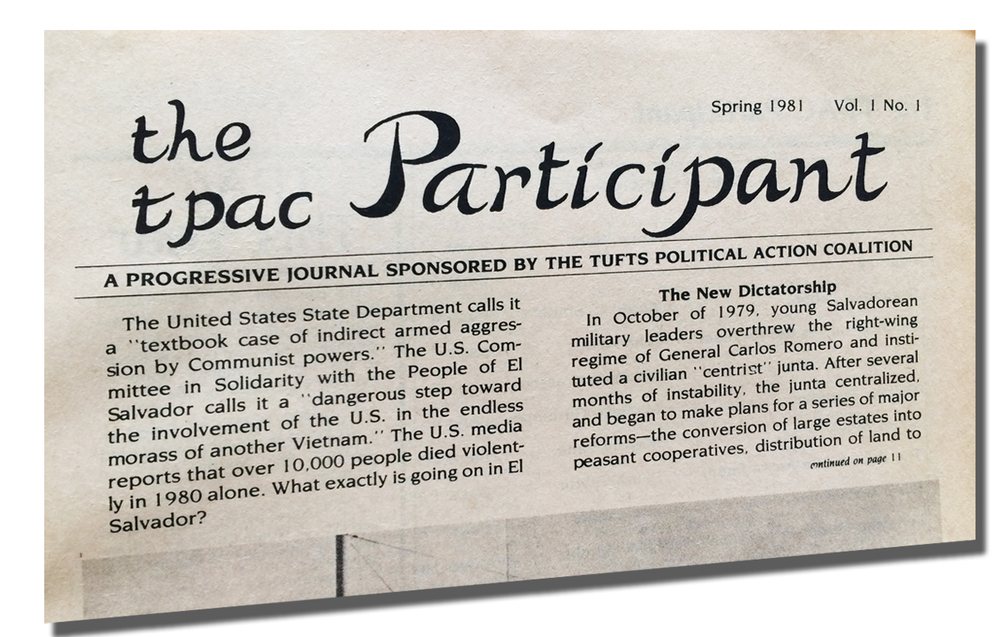 John was an editor for the Tufts University TPAC Participant newspaper