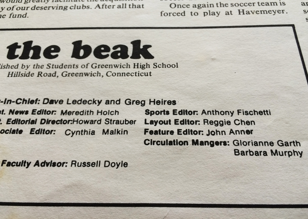 John was Featured Editor of The Beak newspaper, published by students of Greenwich High School.
