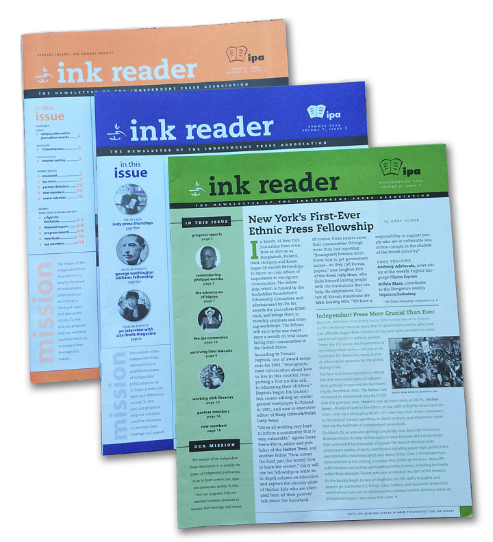 The Ink Reader was the newsletter of the Independent Press Association, a membership coalition of progressive publications. The Ink Reader was one of many IPA publications that provided technical assistance for independent publishers. John was Executive Director of the IPA for seven years.