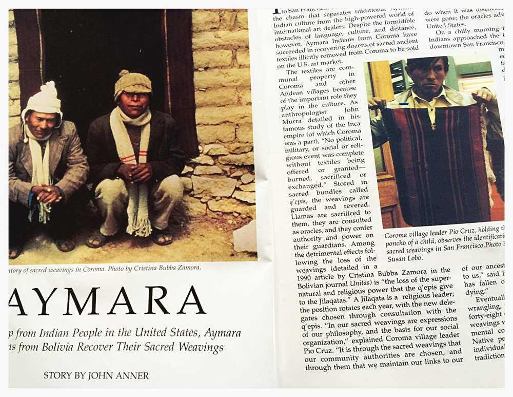 An article for Native Peoples magazine about sacred weavings from the Aymara tribe in Bolivia
