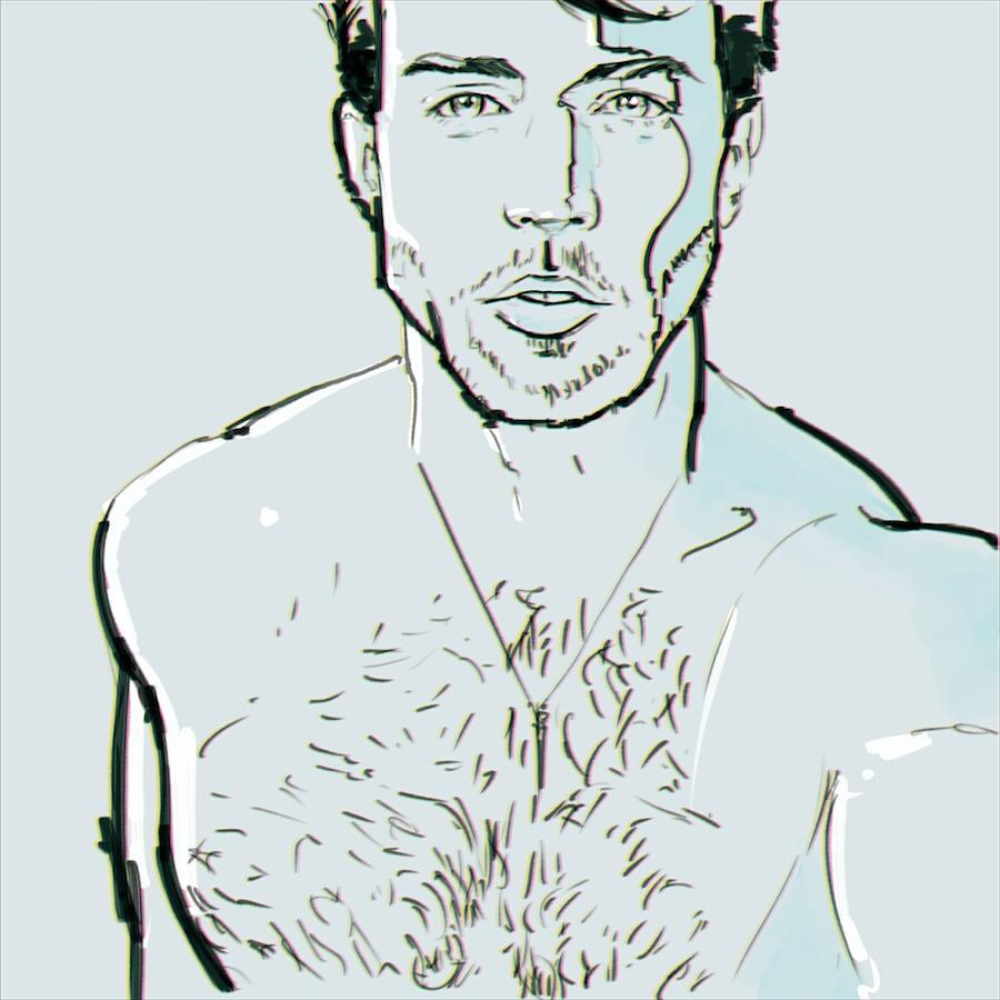 Where's @modelwarren lately? #modelwarren #egorodriguez #drawing #art #illustration #instaart #portrait #ink #linedrawing #egorod #model #friend