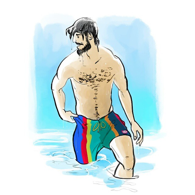 One of the illustrations for Munkle swimwear #munkle #drawing #swimwear #beard #beach #water #egorodriguez #illustration #sun #summer #fashion #art #instaart #pogonophile #malefigure