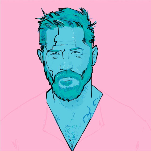 I'm back #portrait #pogonophile #tomhardy #beard #egorodriguez #egorodriguezillustration #illustration #egofied #pink #instaart #instasketch #drawing #art #green