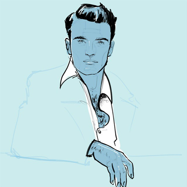 Montgomery Clift. Happy Friday everybody! #egorodriguez #montgomeryclift #hollywood #portrait #drawing #blue #instaart #illustration #art #linedrawing #ink #50s #classic #cinema