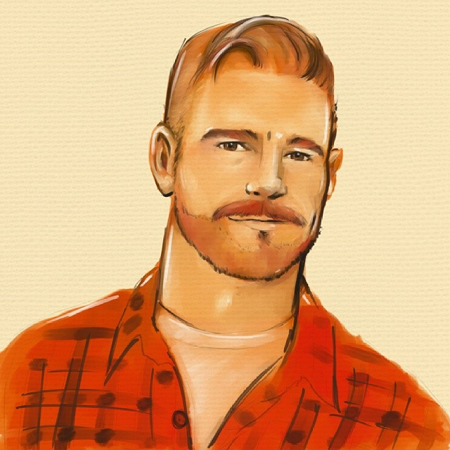 Playing around with new brushes #sketch #art #watercolour #canvas #ginger #beard #hunk #portrait #egofied #egorodriguez