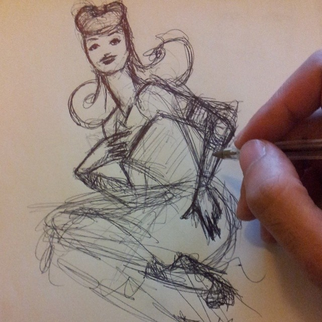 Sketching new work #doodle #sketch #art #pinup #egorodriguez #illustration #pen #ruby