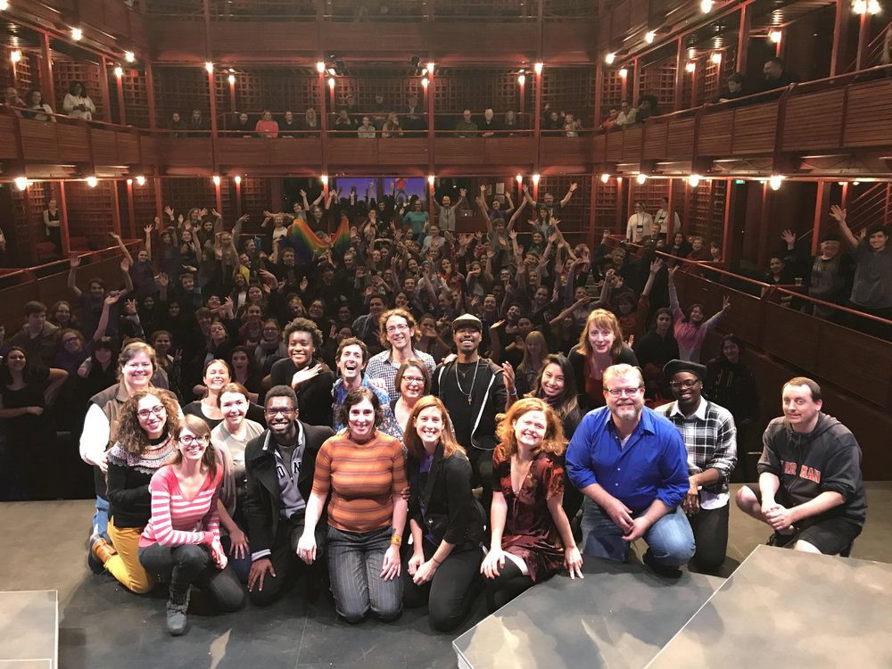 Portland Playhouse staff on stage at the 2017 Fall Festival of Shakespeare.
