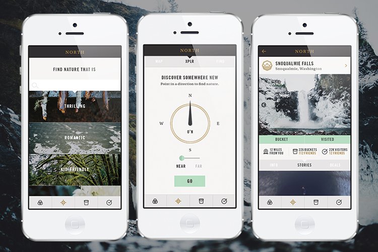 North is a location-based mobile application that helps you discover meaningful places in nature through the stories of others. Through geotagging, North aggregates user photos and personal experiences in nature that the users can create through the app. What struck us the most about North was its ability to bring the user back to nature through technology. The source of our distance to nature has become the connector back to it.