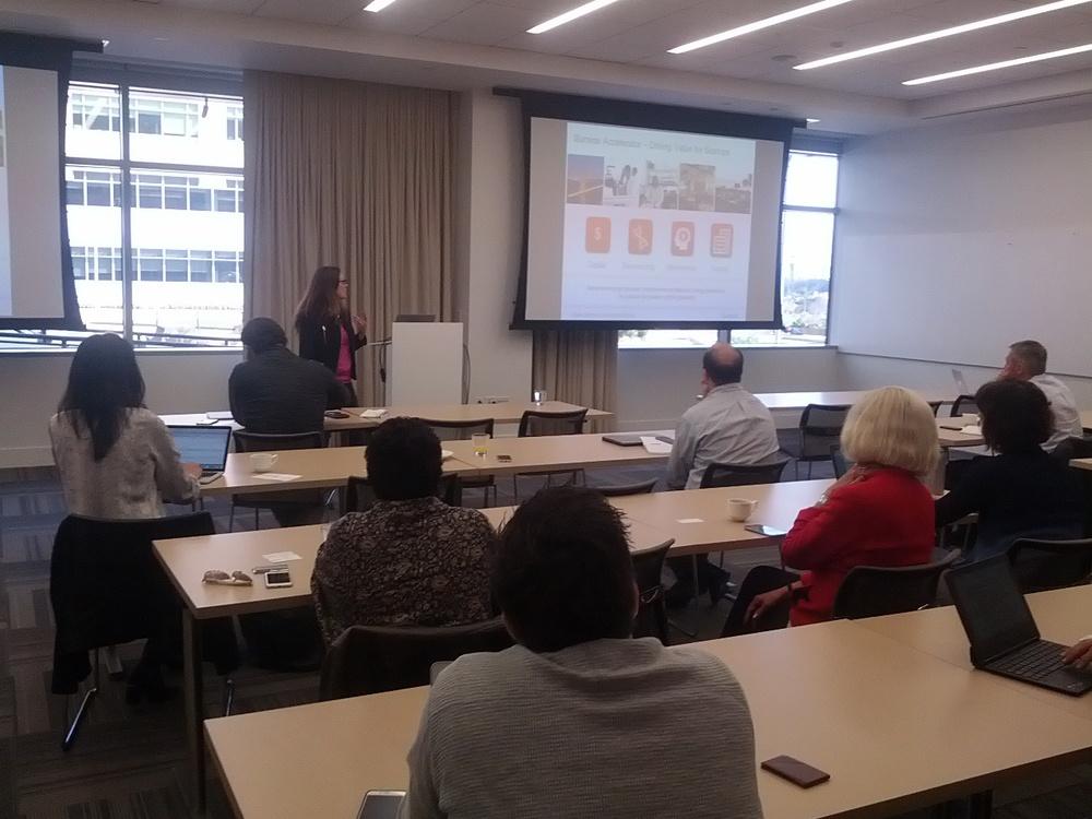 Amanda Cashin, Head of the Illumina Accelerator, presents to the April 2015 meeting of the CBIA.