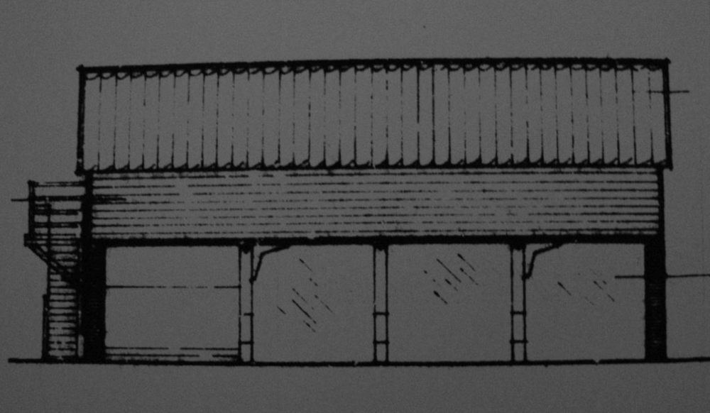 Fig.47  Granary / 4-bay cart-  shed ('existing'   N elev., bldg.1, C/91/0962)