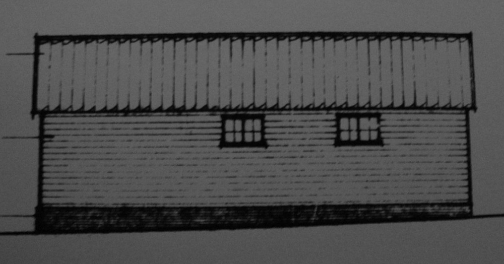 Fig.49 5-bay cow-  house ('existing'   E elev., building 7, C/91/0962)