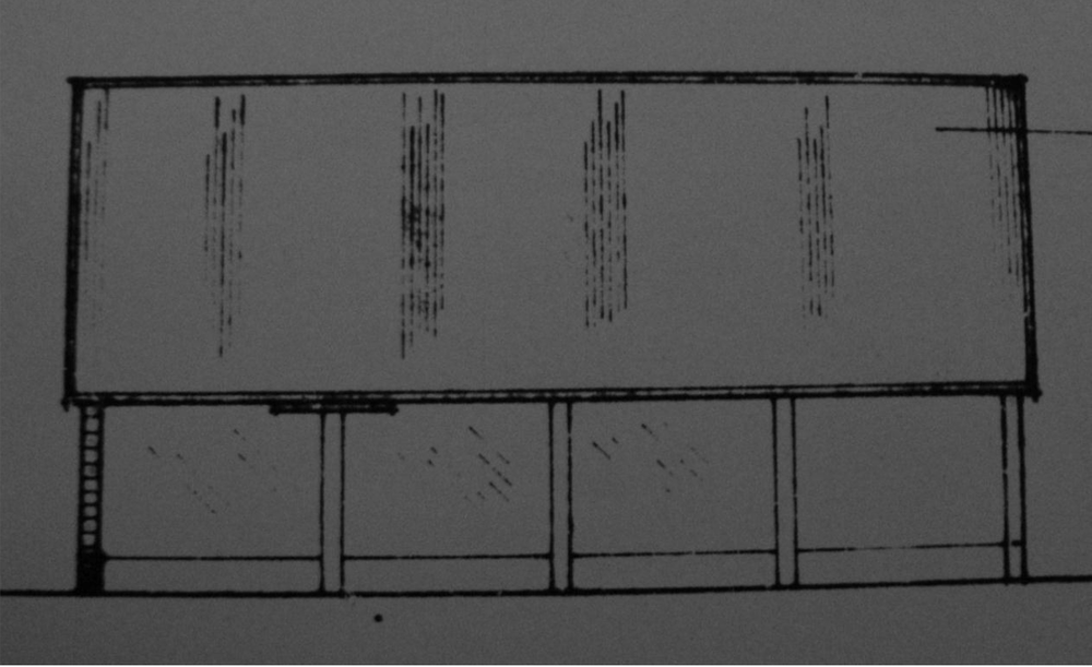Fig.50 4-bay cart-  shed ('existing'   E elev., building 9, C/91/0962)