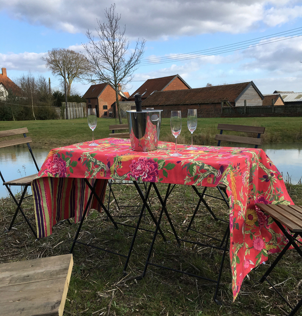 Table set on island for your moated BBQ