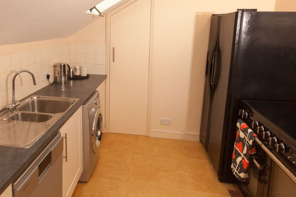 Kitchen with induction range, dishwasher, microwave, washer/dryer, ice maker, massive fridge/freezer