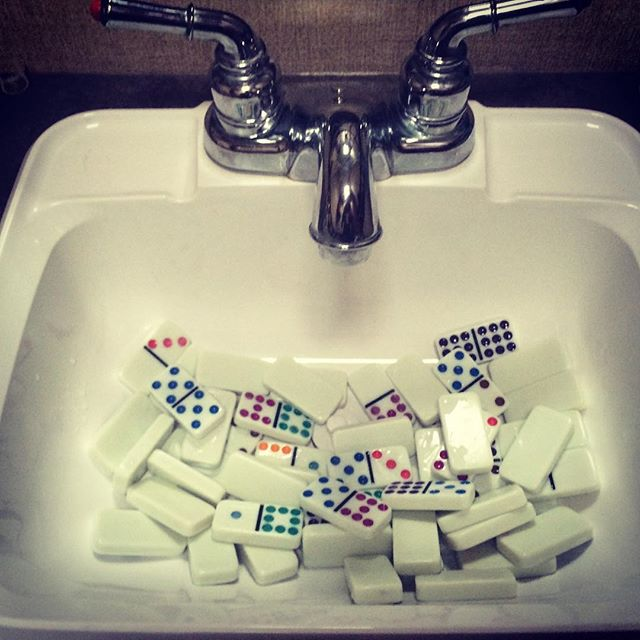 Dominoes is hard. They float though. #dominoesandbeer #tourlife #nbz
