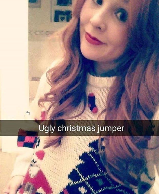 "Here's our friend Chelsea in her bestdays ""ugly"" Christmas jumper. Her words not mine."