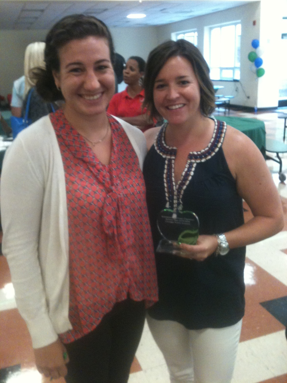 Award winner, Kristin German (right) from Jackie Robinson Elementary