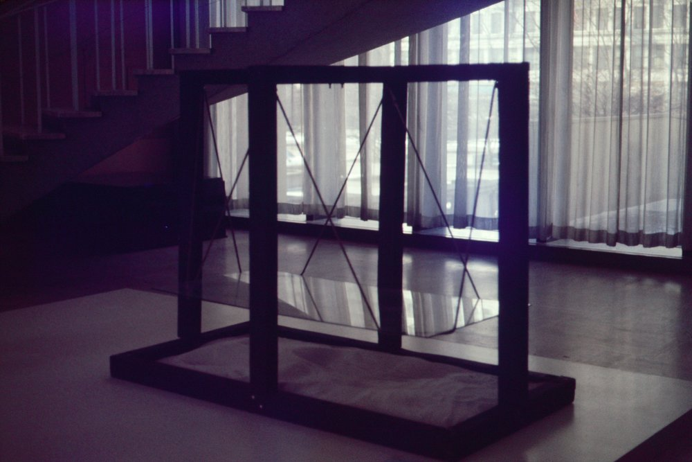 Suspended Glass from Glass Box over White Sand (1975)
