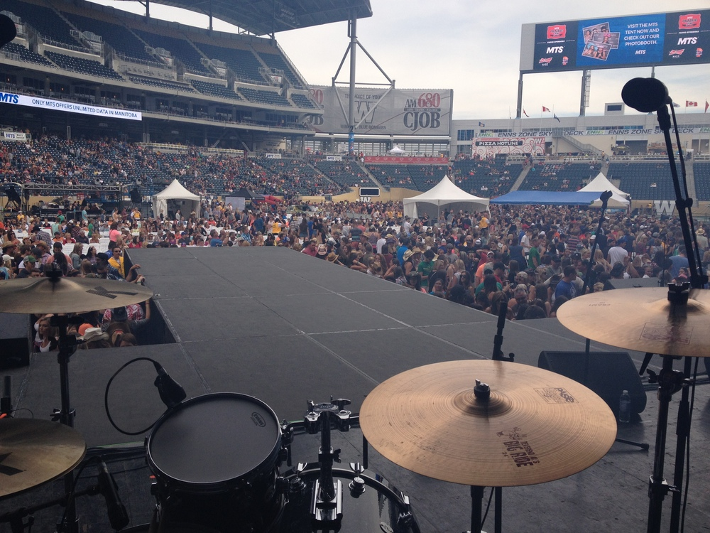 The crowd rolling in at the new Winnipeg Blue Bombers stadium