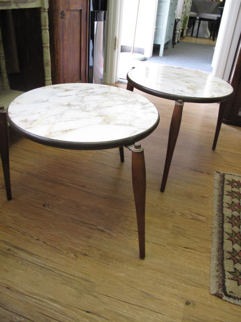 Pair Of Faux Marble Side Tables Vintage Store Love Furniture And
