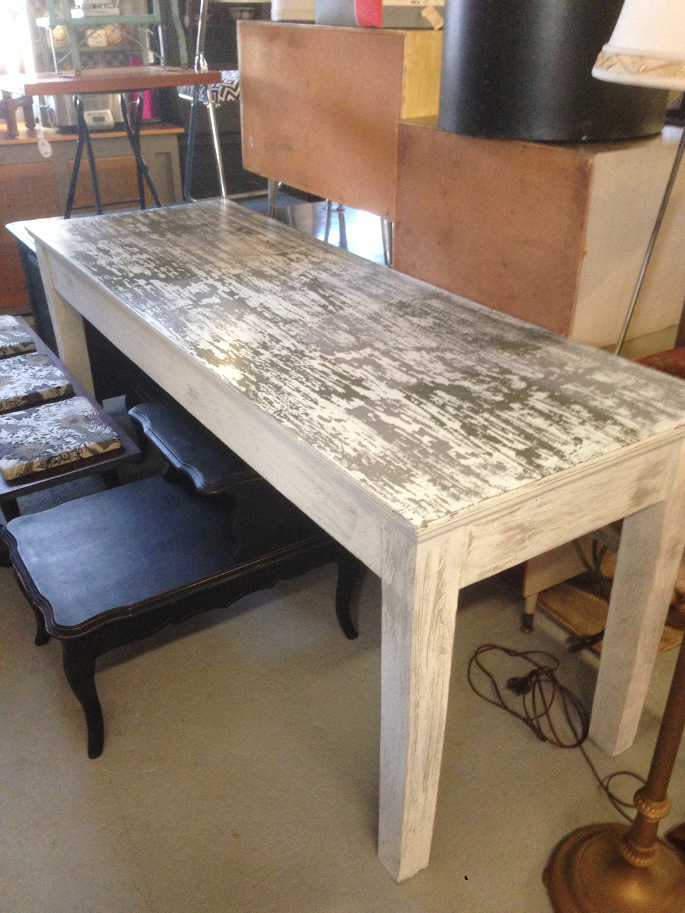 Distressed Hand Painted Farm Table