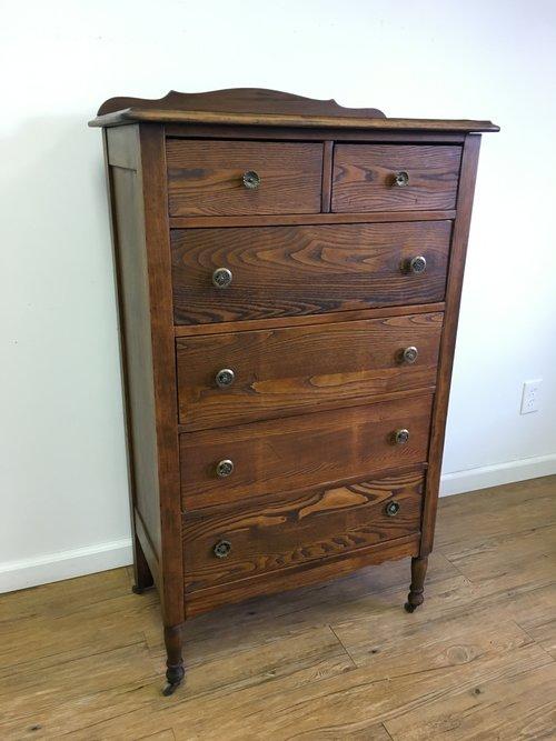 Petite Antique Tiger Oak Tall Boy 6 Drawer Dresser - Petite Antique Tiger Oak Tall Boy 6 Drawer Dresser — Vintage Store