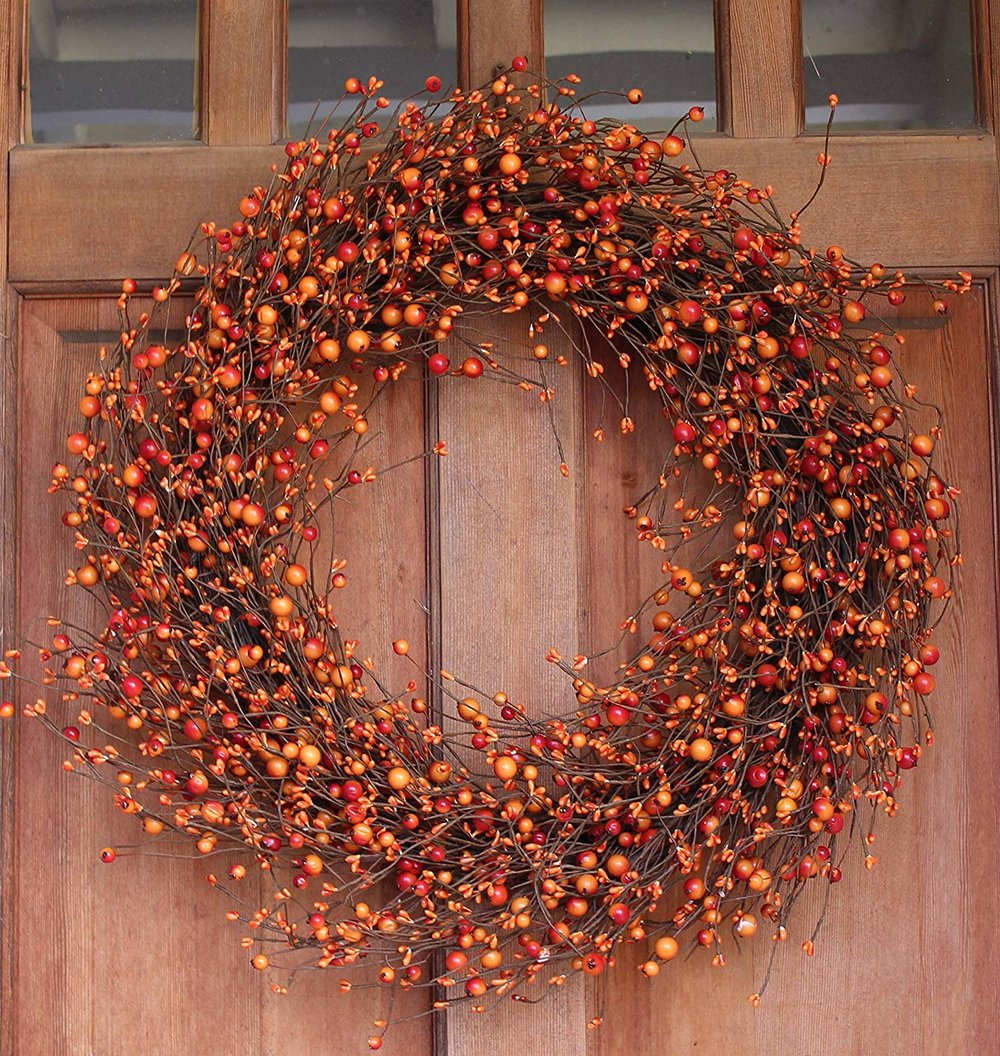 Weston Fall Berry Wreath 22 Inches - Enhances Front Door Decor with Designer Quality, Approved for Covered Outdoor Use, Beautiful White Gift Box Included