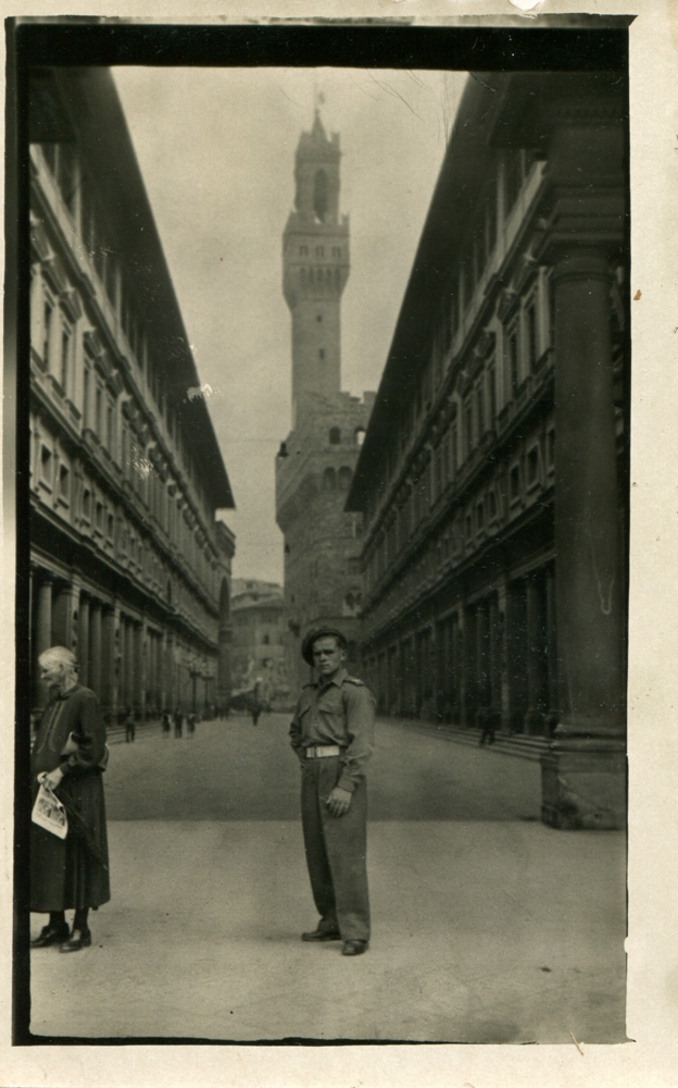 Walerian 'Val' Tyminski in Florence, Italy, Giotto's Bell Tower in the Background, 1946.