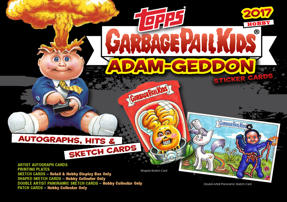 "The new Garbage Pail Kids sticker cards series ""Adam Geddon"" by Topps is out now. As usual, I am one of the sketch artists. You can find original pieces of art in the packets, collect them all! www.topps.com"