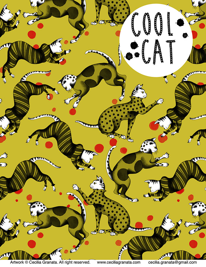 Cool Cat, repeat pattern