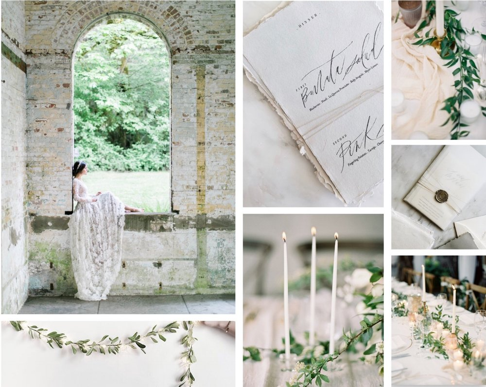 Above: a mood board I created for an organic, ethereal wedding editorial.