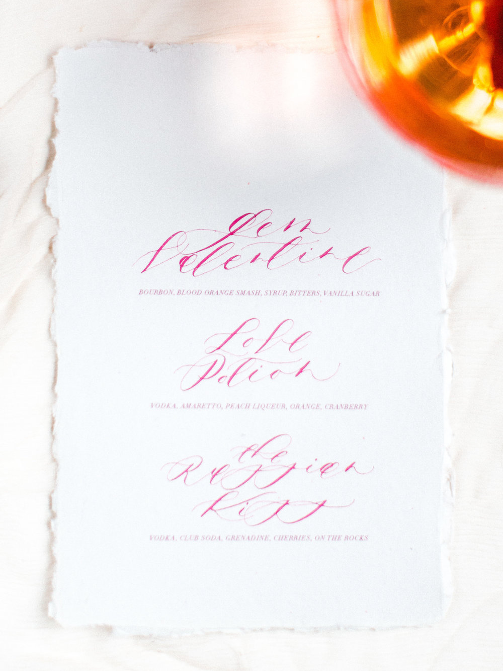 Cocktail Menu by Locust House Fine Stationery