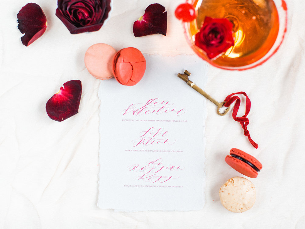 Calligraphy Menu by Locust House Fine Stationery