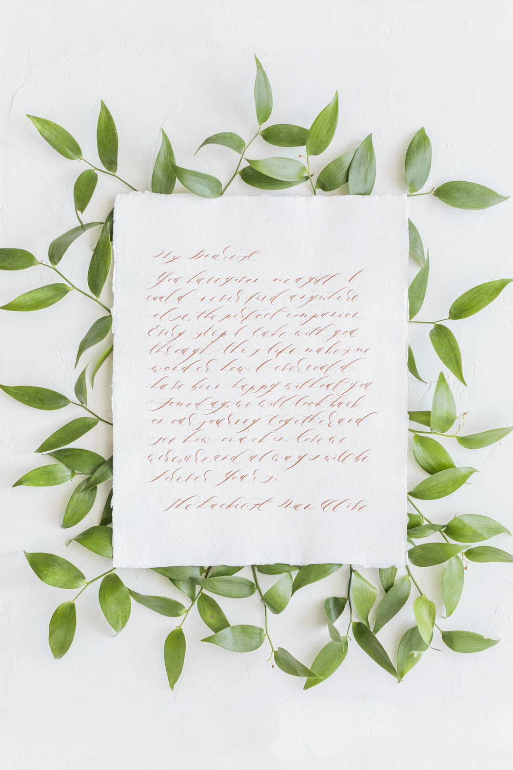 Calligraphy Love Letter on Handmade Paper by Locust House Fine Stationery