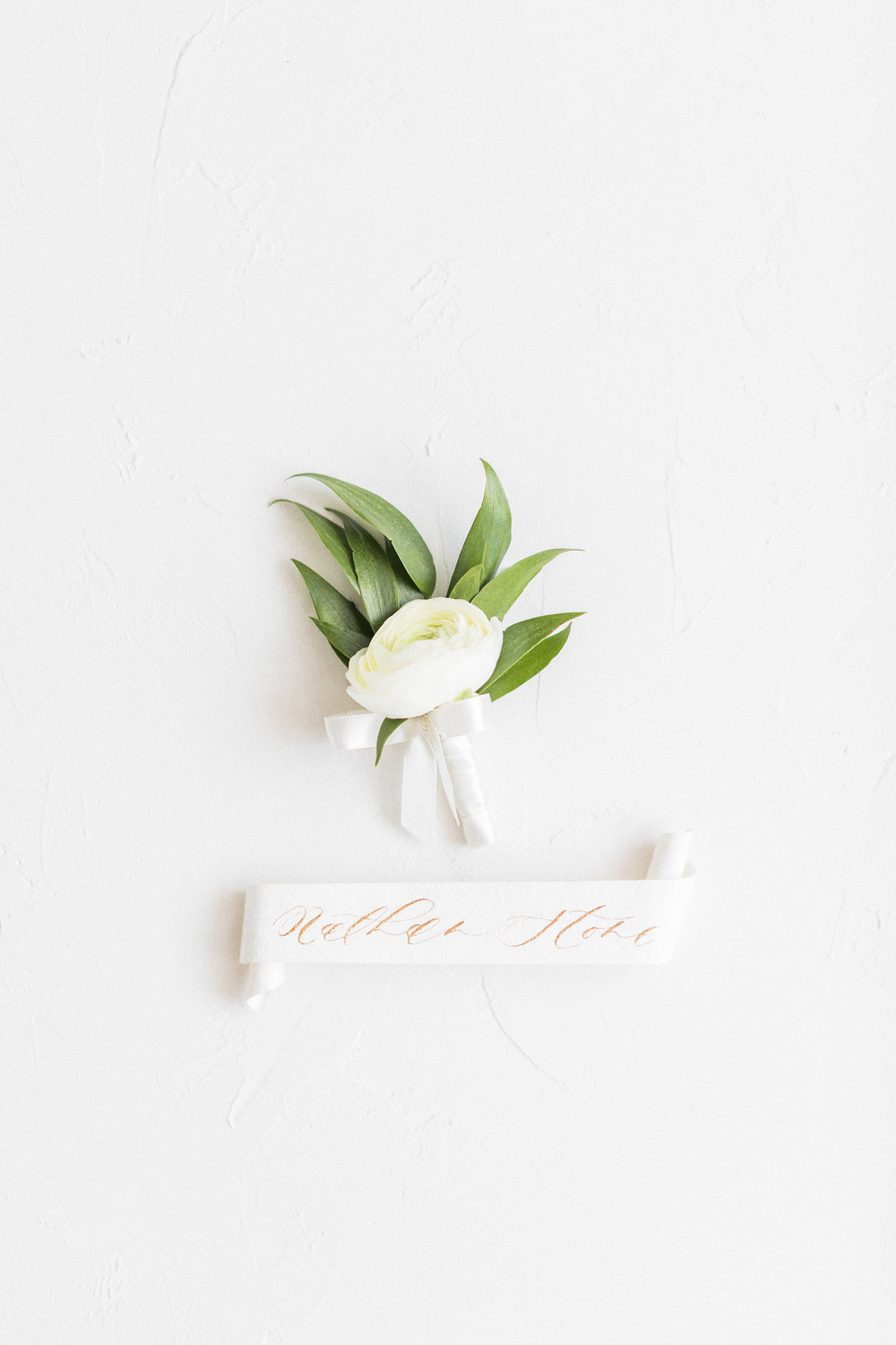 Scrolled Place Card with Gold Calligraphy by Locust House Fine Stationery