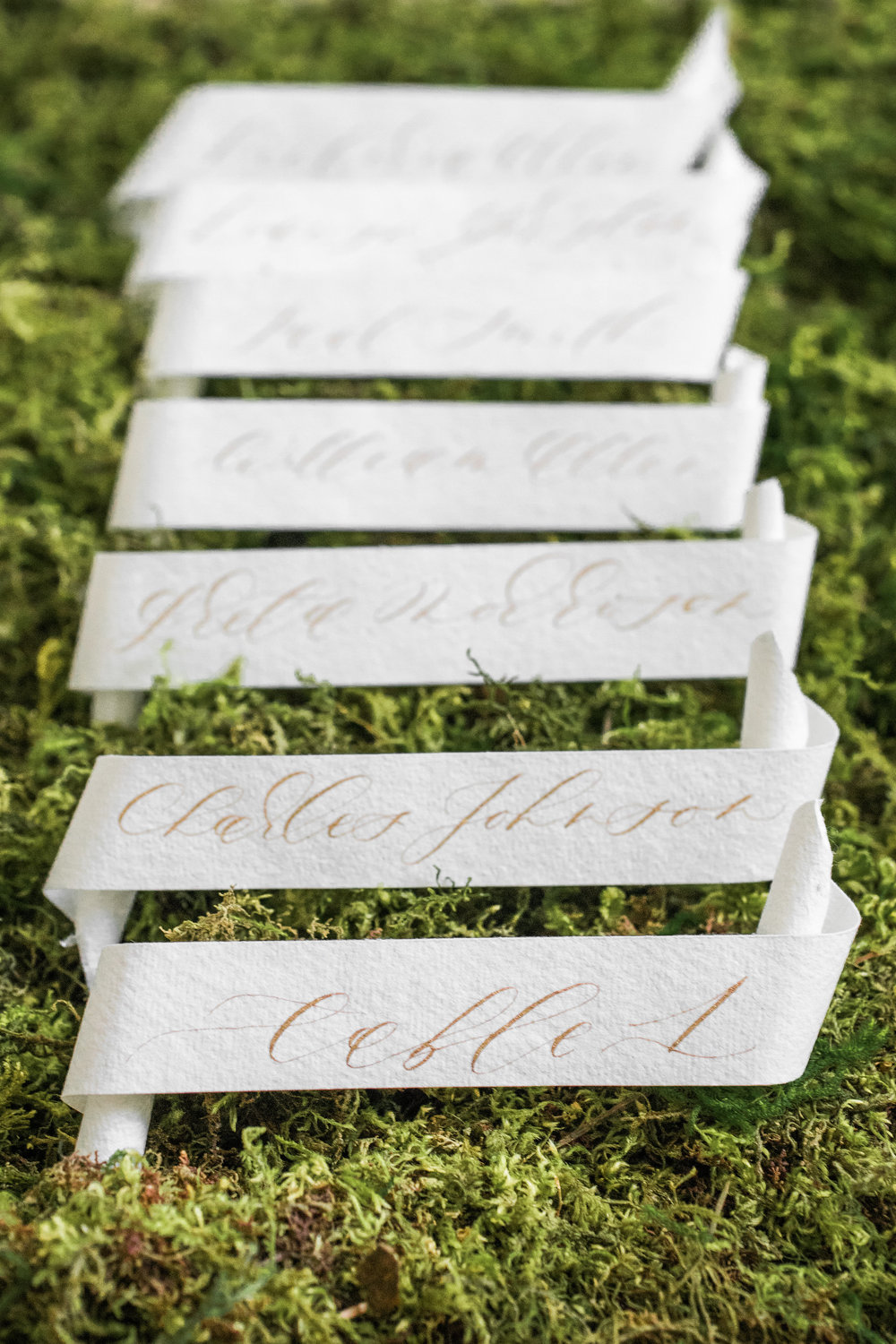 Scroll Escort Cards with Gold Calligraphy by Locust House Fine Stationery