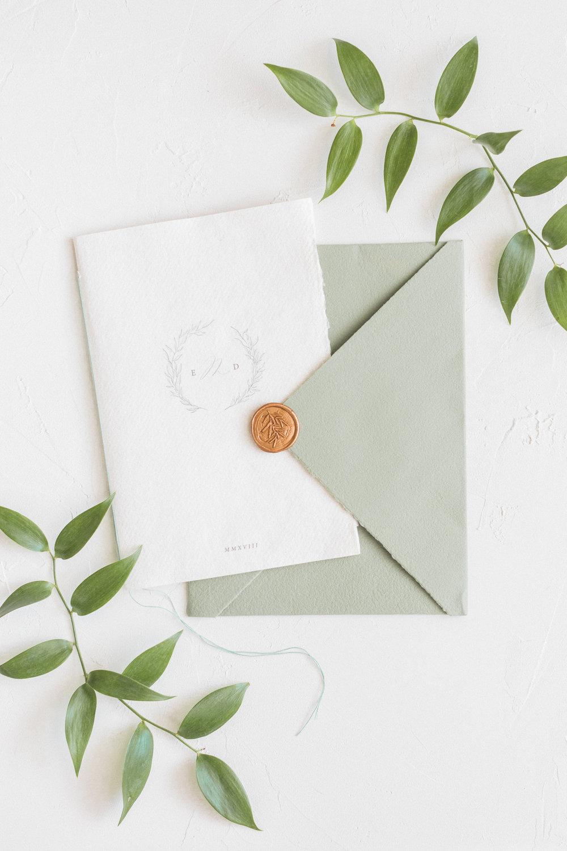 Organic Minimal Inspired Bespoke Wedding Invitation Booklet by Locust House Fine Stationery