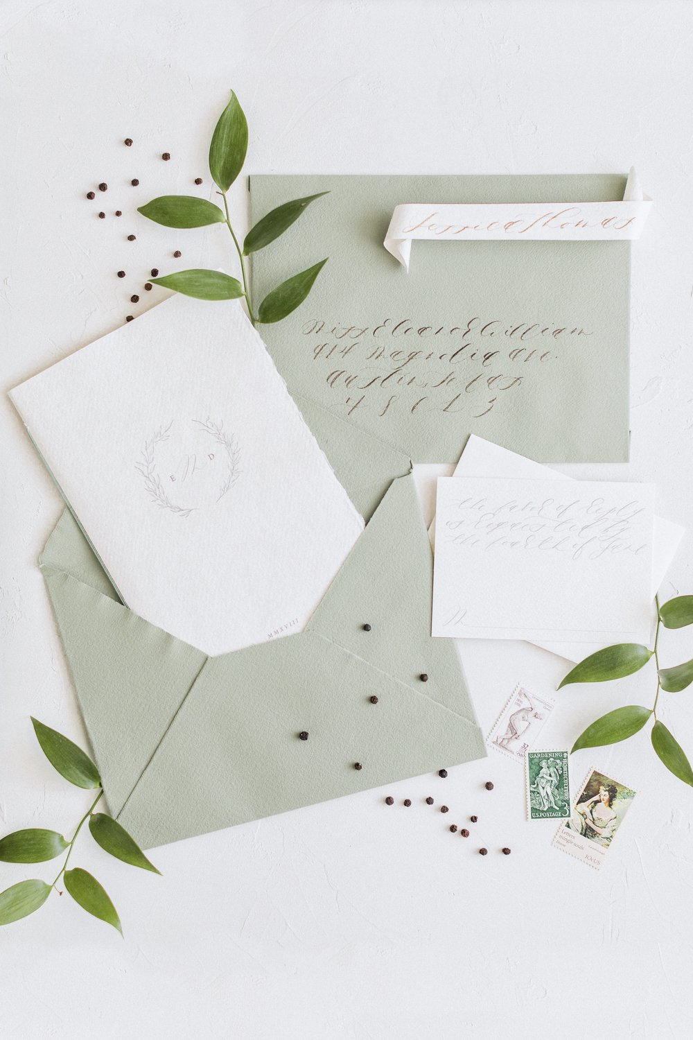 Organic Minimal Inspired Wedding Invitation suite and Calligraphy by Locust House Fine Stationery