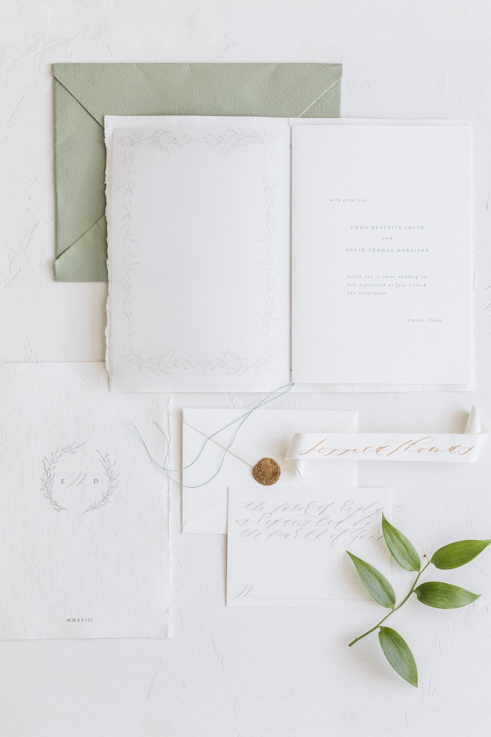 Organic Greenery Inspired Wedding Invitation Suite by Locust House Fine Stationery